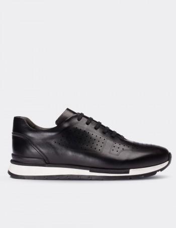 Hakiki Deri Siyah Erkek Sneaker