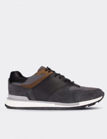 Hakiki Süet Gri Erkek Sneaker