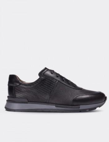 Hakiki Deri Siyah Örgü Desenli Erkek Sneaker