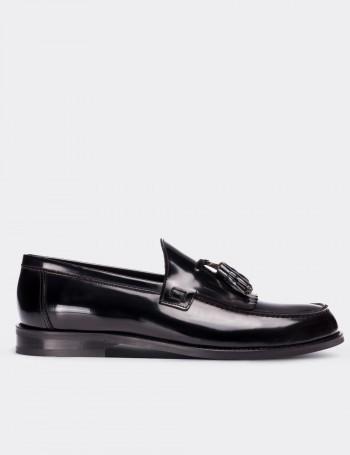 Hakiki Deri Siyah Püsküllü Erkek Loafer