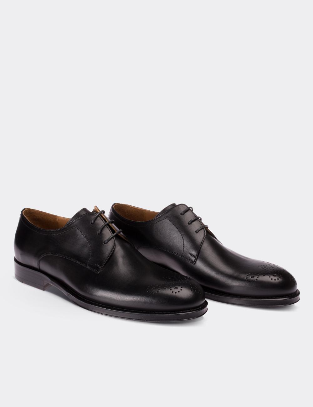 Hakiki Deri Siyah Kösele Klasik Erkek Ayakkabı - 01604MSYHK01