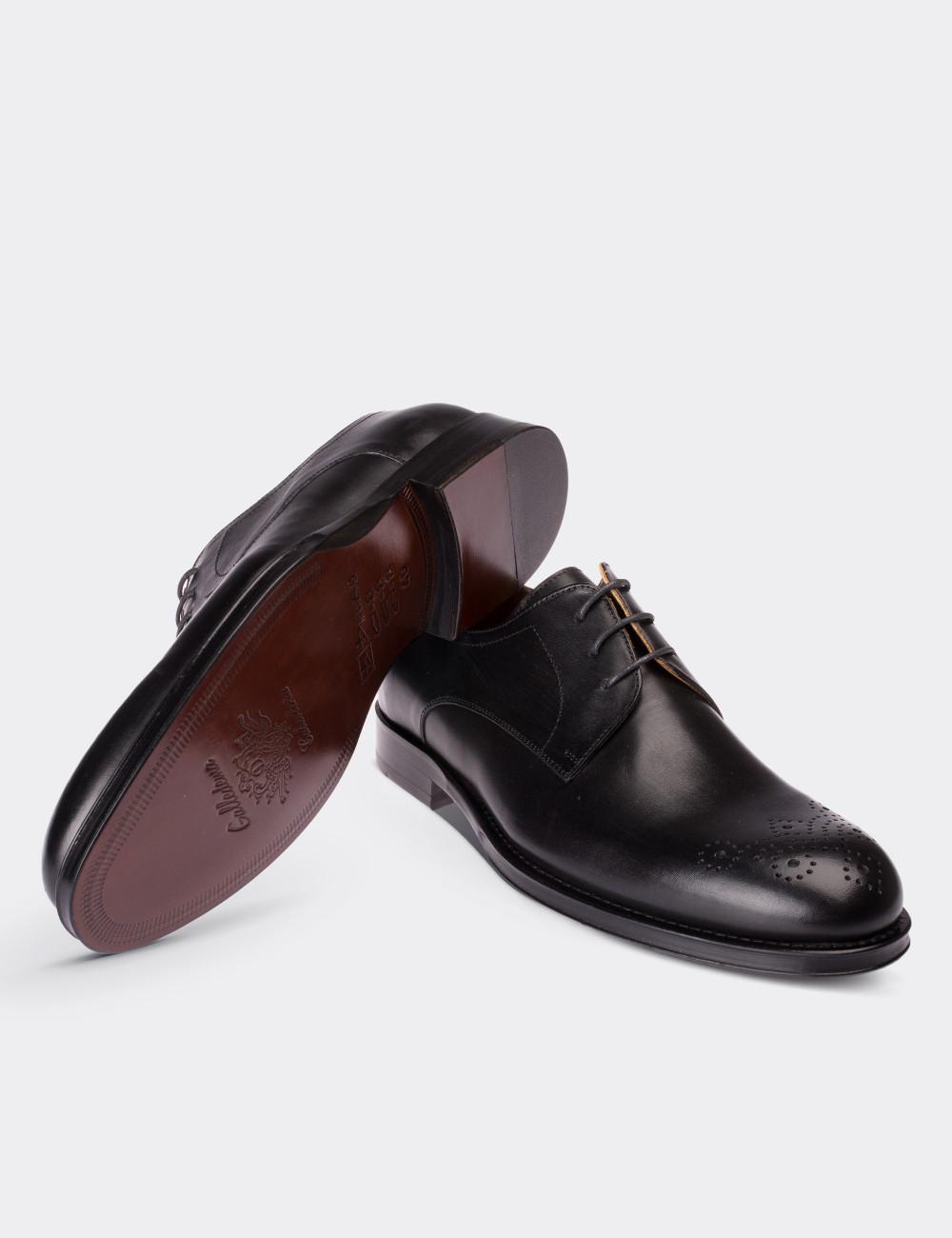 acf387e9da4e3 Hakiki Deri Siyah Kösele Klasik Erkek Ayakkabı - 01604MSYHK01