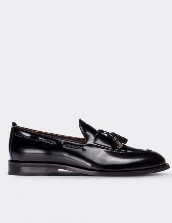 Hakiki Deri Püsküllü Siyah Erkek Loafer