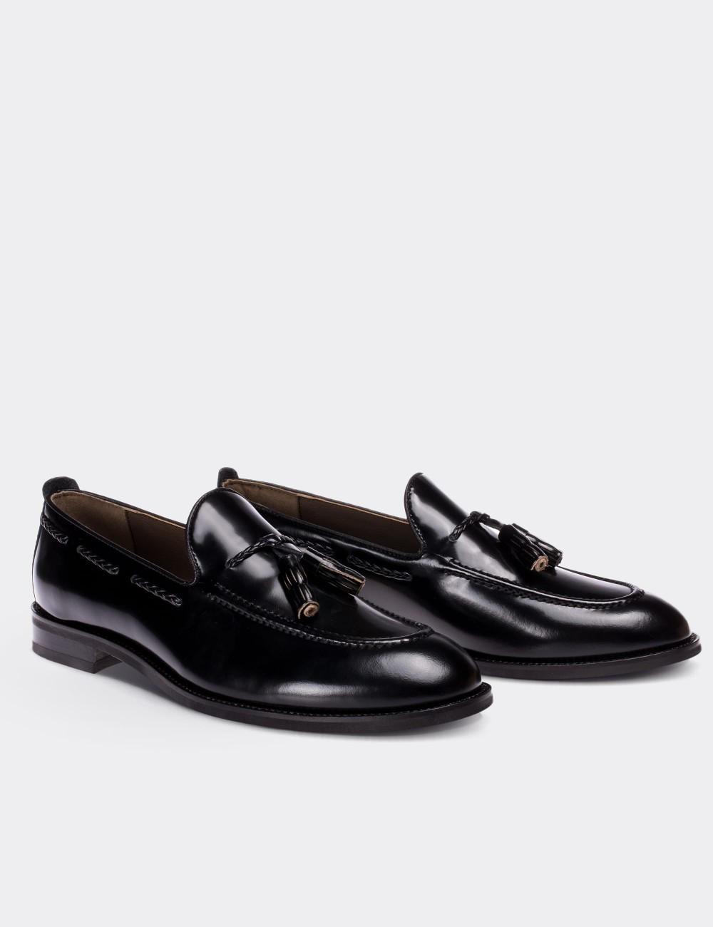 Hakiki Deri Püsküllü Siyah Erkek Loafer - 01642MSYHM04