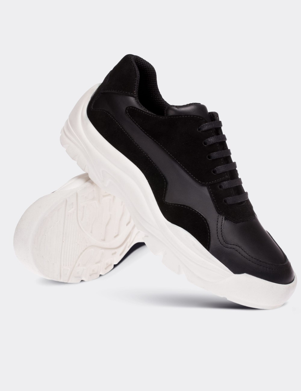 Hakiki Deri Siyah Sneaker Erkek Ayakkabı - 01732MSYHP01