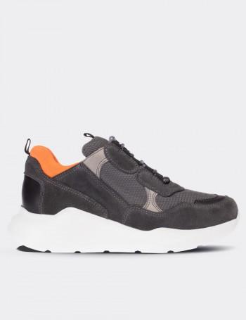 Hakiki Süet Gri Sneaker Kadın Ayakkabı