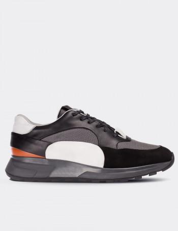 Hakiki Deri Özel Üretim Siyah Erkek Sneaker