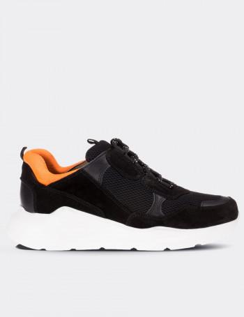 Hakiki Süet Siyah Kadın Sneaker