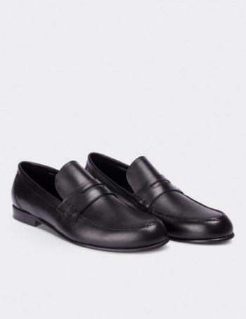 Hakiki Deri Siyah Makosen Erkek Ayakkabı