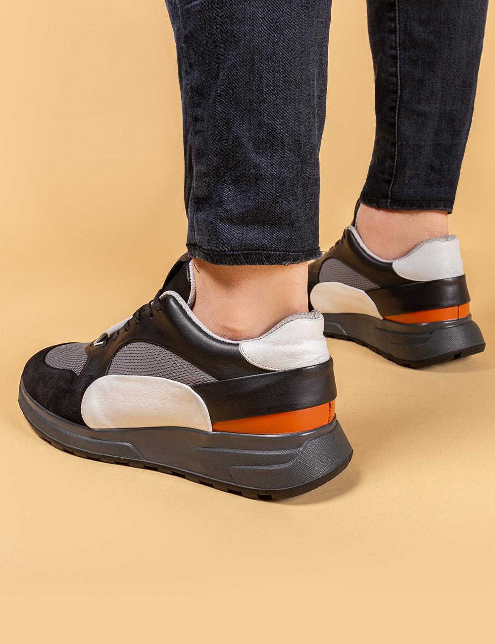 Hakiki Deri Özel Üretim Siyah Erkek Sneaker - 01726MSYHT01