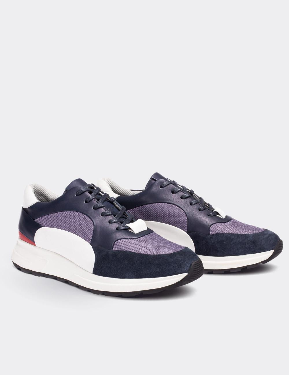 Hakiki Deri Lacivert Özel Üretim Erkek Sneaker - 01726MLCVT01