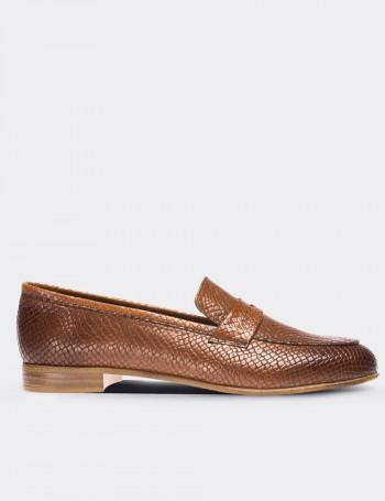 Hakiki Deri Kahverengi Kadın Loafer
