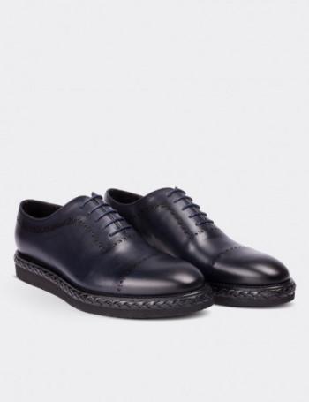 Hakiki Deri Örgü Eva Tabanlı Lacivert Erkek Ayakkabı