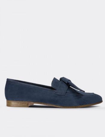Hakiki Süet Mavi Kadın Loafer
