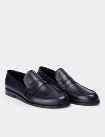 Hakiki Deri Lacivert Makosen Erkek Ayakkabı