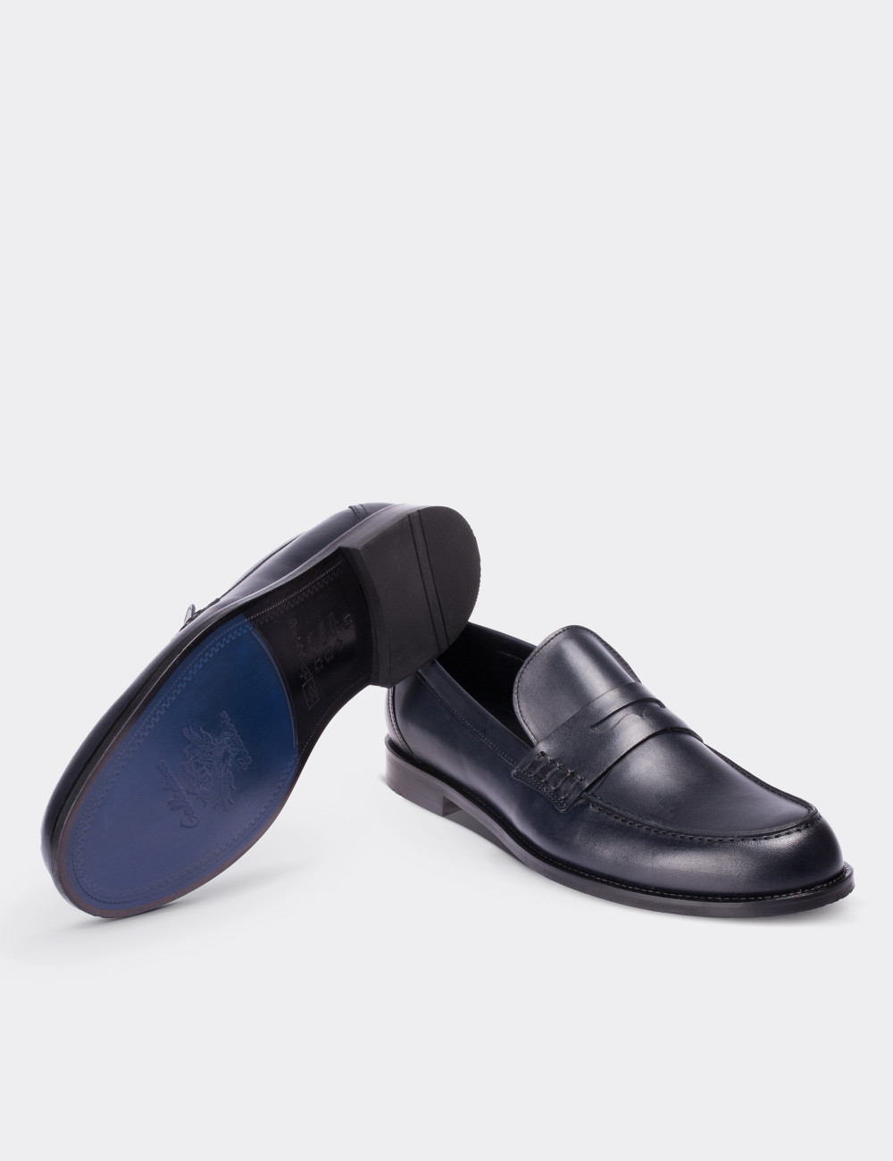 Hakiki Deri Lacivert Makosen Erkek Ayakkabı - 01538MLCVM02