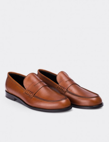 Hakiki Deri Kahverengi Makosen Erkek Ayakkabı