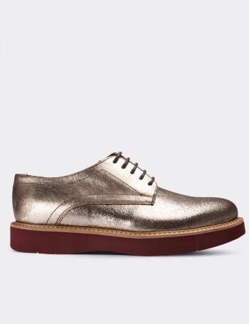 Hakiki Deri Altın Rengi Günlük Kadın Ayakkabı
