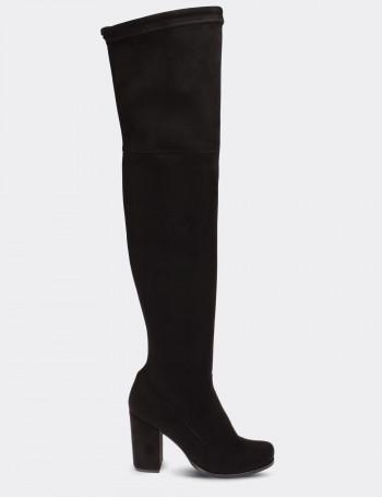 Siyah Streç Kadın Çizme