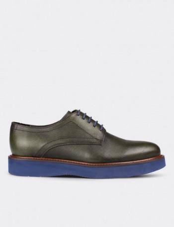 Hakiki Deri Yeşil Kadın Ayakkabı