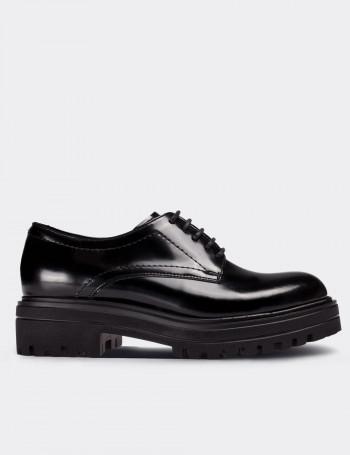 Hakiki Deri Siyah Günlük Kadın Ayakkabı