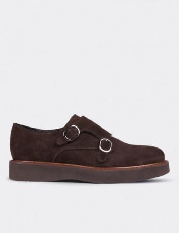 Hakiki Süet Çift Tokalı Kahverengi Kadın Ayakkabı