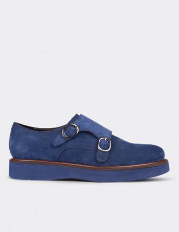 Hakiki Süet Çift Tokalı Mavi Kadın Ayakkabı
