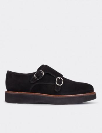 Hakiki Süet Çift Tokalı Siyah Kadın Ayakkabı