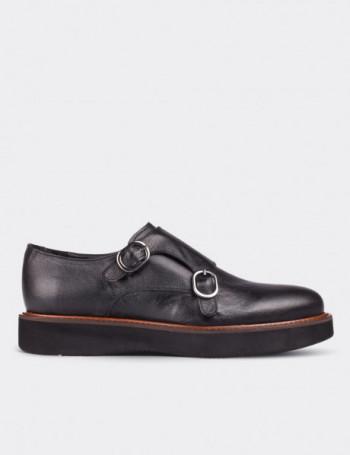 Hakiki Deri Çift Tokalı Siyah Kadın Ayakkabı