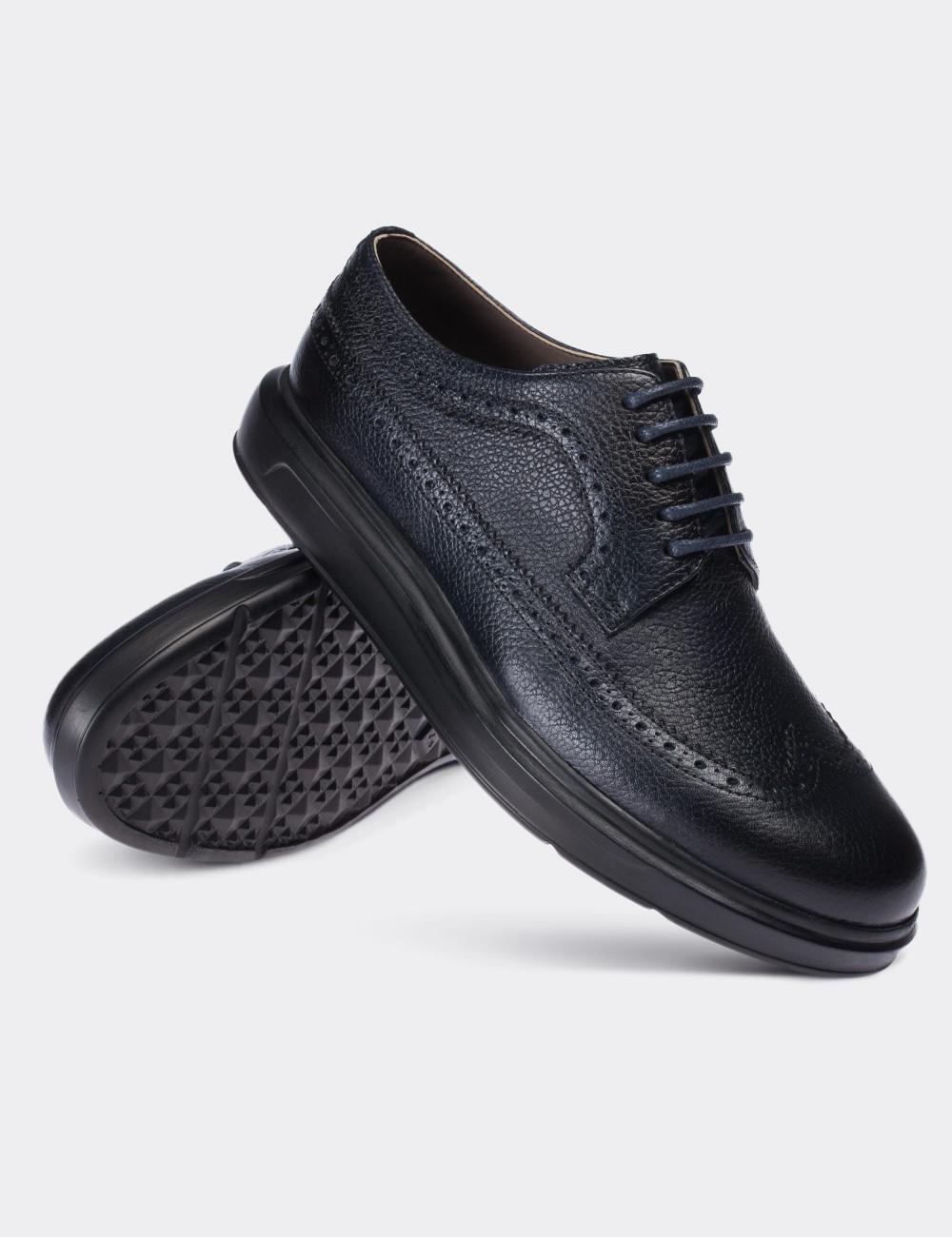 Hakiki Deri Lacivert Comfort Günlük Erkek Ayakkabı - 01293MLCVP05
