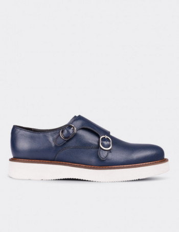 Hakiki Deri Çift Tokalı Lacivert Kadın Ayakkabı