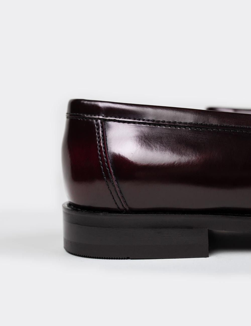 Hakiki Deri Bordo Püsküllü Erkek Loafer - 01735MBRDM01