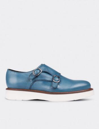 Hakiki Deri Çift Tokalı Açık Mavi Kadın Ayakkabı