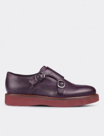 Hakiki Deri Çift Tokalı Mor Kadın Ayakkabı
