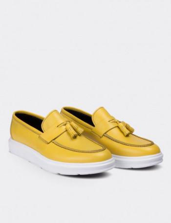 Hakiki Deri Sarı Püsküllü Erkek Loafer