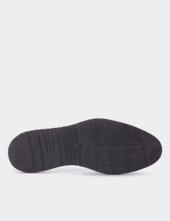 Hakiki Deri Örgü Eva Tabanlı Siyah Erkek Ayakkabı