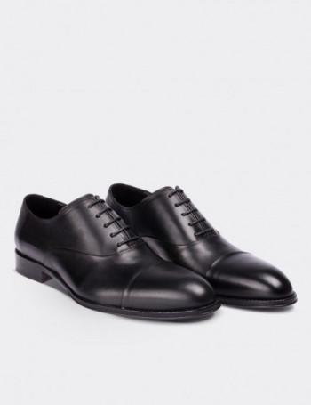 Hakiki Deri Siyah Kösele Erkek Ayakkabı
