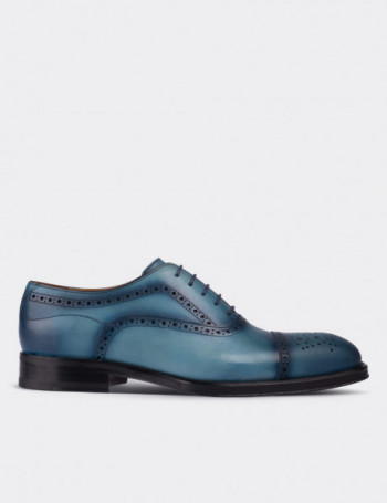 Hakiki Deri Mavi Kösele Bağcıklı Erkek Ayakkabı