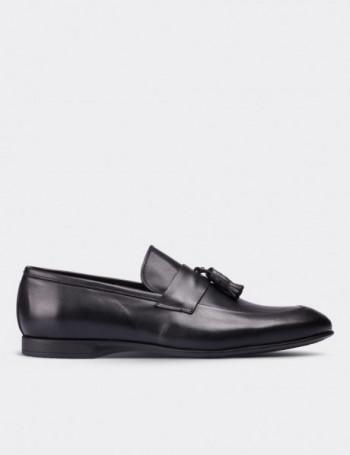 Hakiki Deri Püsküllü Siyah Makosen Erkek Ayakkabı