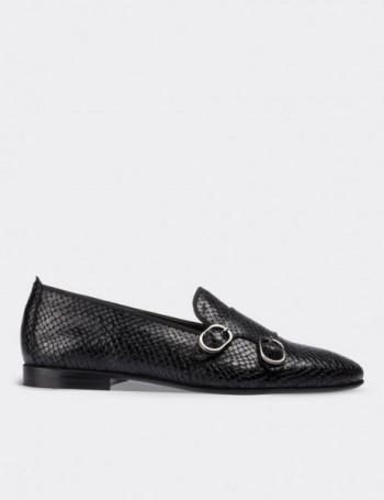 Hakiki Deri Kroko Desen Çift Tokalı Siyah Kadın Ayakkabı