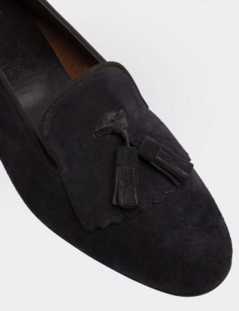 Hakiki Deri Lacivert Süet Püsküllü Kadın Ayakkabı