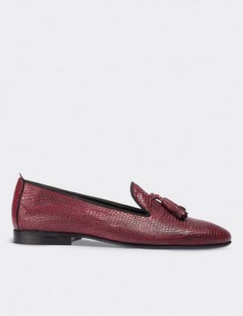 Hakiki Deri Kroko Desen Püsküllü Bordo Kadın Ayakkabı