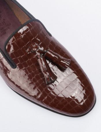 Hakiki Deri Kroko Desen Püsküllü Kahverengi Kadın Ayakkabı