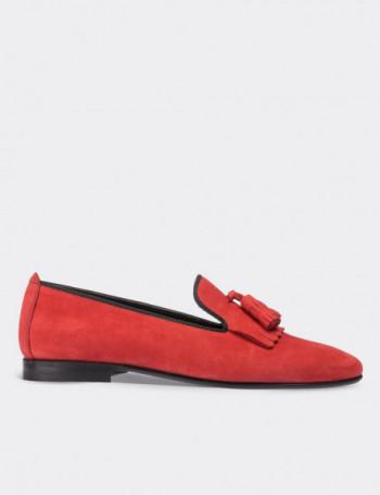 Hakiki Deri Kırmızı Süet Püsküllü Kadın Ayakkabı