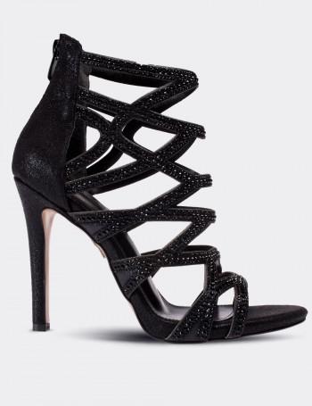Siyah Süet Abiye Kadın Topuklu Ayakkabı