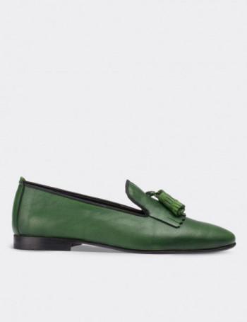 Hakiki Deri Yeşil Püsküllü Kadın Ayakkabı