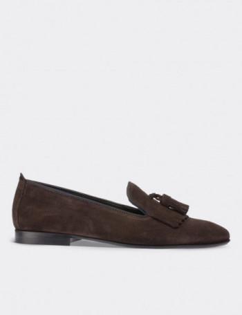 Hakiki Deri Kahverengi Süet Püsküllü Kadın Ayakkabı