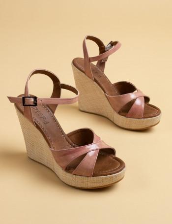 Hakiki Deri Lila Rengi Kadın Sandalet