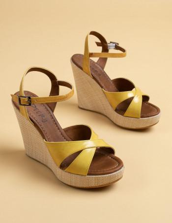 Hakiki Deri Sarı Kadın Sandalet