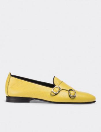 Hakiki Deri Çift Tokalı Sarı Kadın Ayakkabı